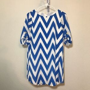 Everly blue and white chevron dress